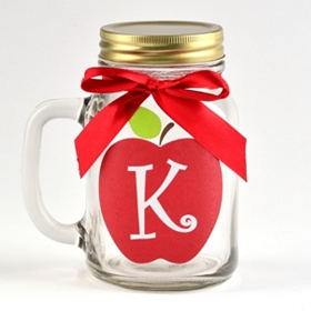 Apple for Teacher Monogram K Mason Jar Mug