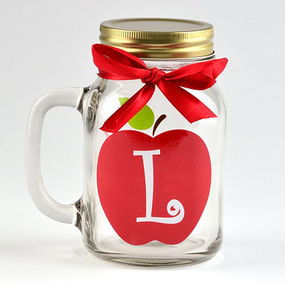 Apple for Teacher Monogram L Mason Jar Mug