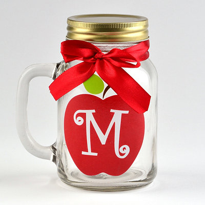 Apple for Teacher Monogram M Mason Jar Mug