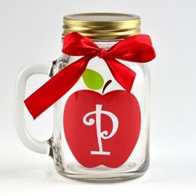 Apple for Teacher Monogram P Mason Jar Mug