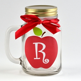 Apple for Teacher Monogram R Mason Jar Mug