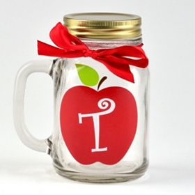 Apple for Teacher Monogram T Mason Jar Mug