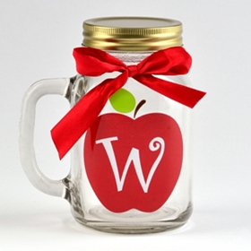 Apple for Teacher Monogram W Mason Jar Mug