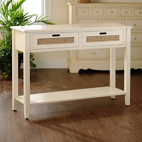 Cream Cane Storage Console Table