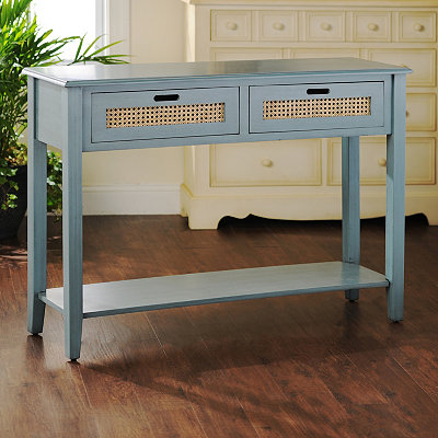 Blue Cane Storage Console Table