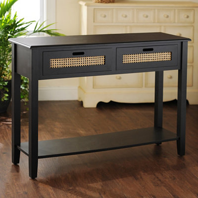 Black Cane Storage Console Table