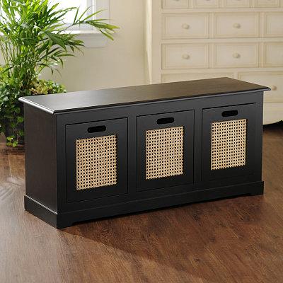 Black 3-Drawer Storage Bench