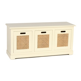 Cream Cane 3-Drawer Storage Bench