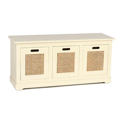 Cream Cane 3-Drawer Storage Bench