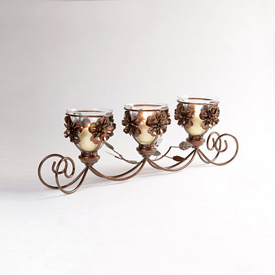 Bronze Flowers Candle Runner