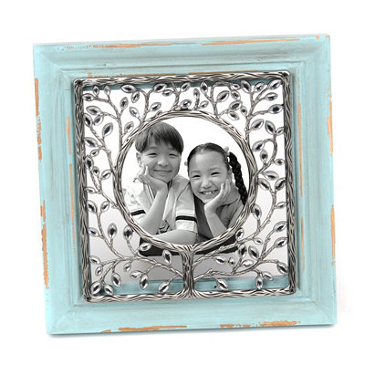 Distressed Blue Jeweled Vine Frame, 4x4