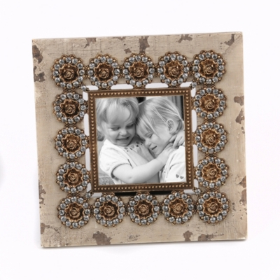 Distressed Beige Jeweled Rosette Frame, 4x4