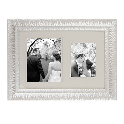 Textured Pearl White Wedding Invite Frame