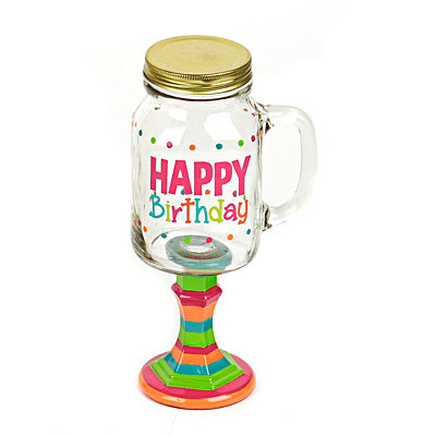 Happy Birthday Mason Jar Glass