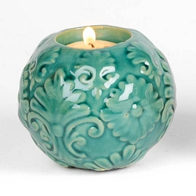 Teal Sphere Tealight Candle Holder