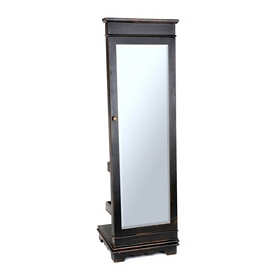 Valet Black Jewelry Armoire Mirror