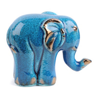 Blue Jewel Ceramic Elephant Statue