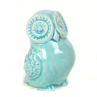 Blue Ceramic Big Eyes Owl Statue
