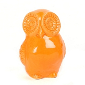Orange Ceramic Big Eyes Owl Statue