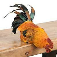 Orange Shelf-Roosting Rooster Statue