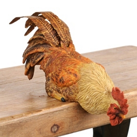 Tan Shelf-Roosting Rooster Statue