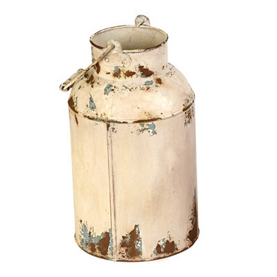 Cream Milk Can Metal Vase
