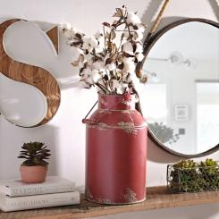 Red Milk Can Metal Vase