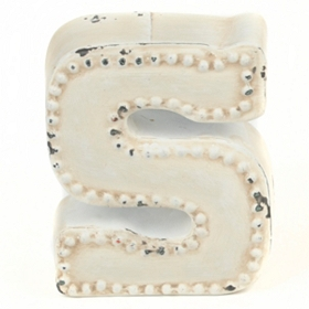Distressed Cream Hobnail S Statue