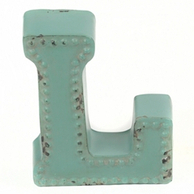 Distressed Blue Hobnail L Statue