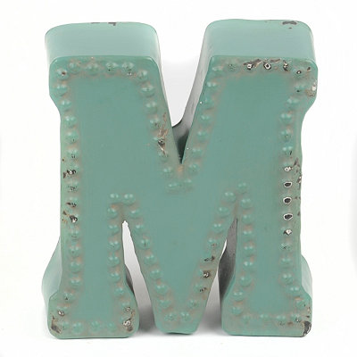 Distressed Blue Hobnail M Statue