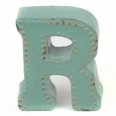 Distressed Blue Hobnail R Statue