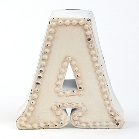 Distressed Cream Hobnail A Statue