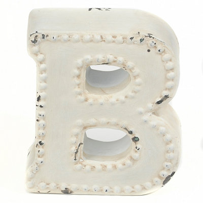 Distressed Cream Hobnail B Statue