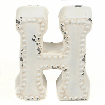 Distressed Cream Hobnail H Statue