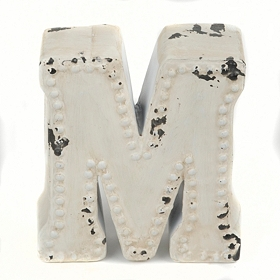 Distressed Cream Hobnail M Statue