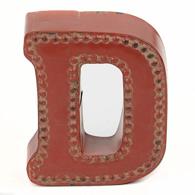 Distressed Red Hobnail D Statue