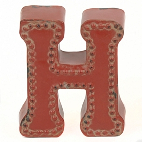 Distressed Red Hobnail H Statue