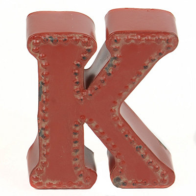 Distressed Red Hobnail K Statue