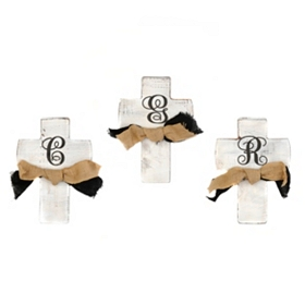 Rustic White Monogrammed Crosses