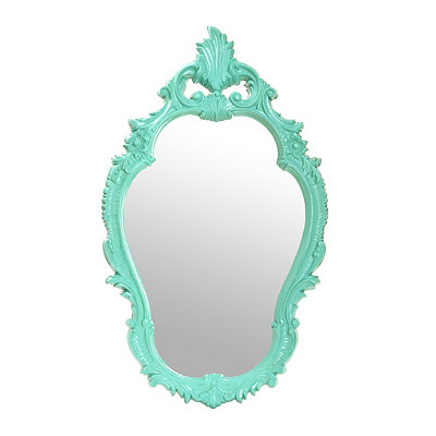 Teal Floral Curves Decorative Mirror