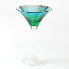 Peacock Martini Glass