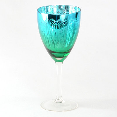 Peacock Wine Glass