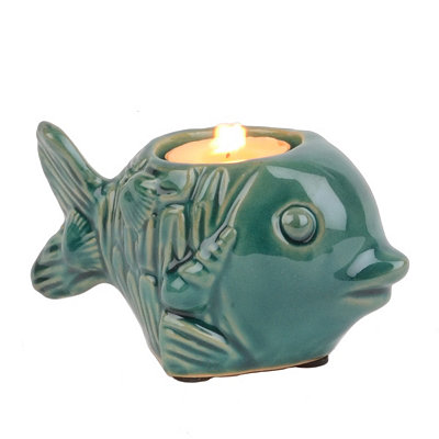 Turquoise Fish Tealight Candle Holder