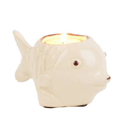 White Fish Tealight Candle Holder