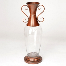 Clear and Copper Glass Vase, 25 in.
