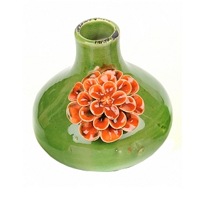 Ceramic Red Flowers Vase