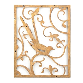 Scrolls & Birds I Metal Wall Plaque
