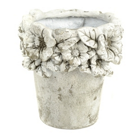 Distressed Concrete Floral Planter