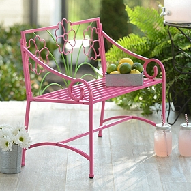 Pink Metal Kids' Outdoor Bench