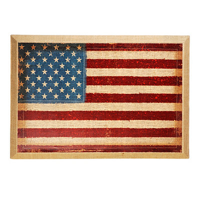 American Flag Canvas Wall Plaque